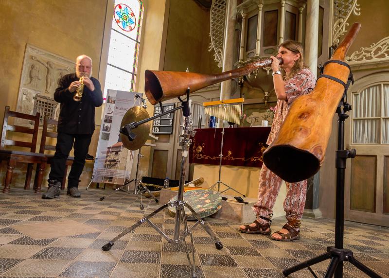 Duo Turbulatores - Konzert mit Sophransaxophon und Didgeridoo (Juli 2013) I Foto: Holger Simmat